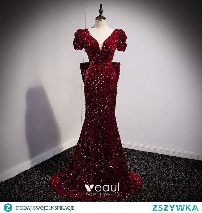 Błyszczące Burgund Cekiny Sukienki Wieczorowe 2021 Syrena / Rozkloszowane V-Szyja Kótkie Rękawy Bez Pleców Kokarda Długie Wieczorowe Sukienki Wizytowe