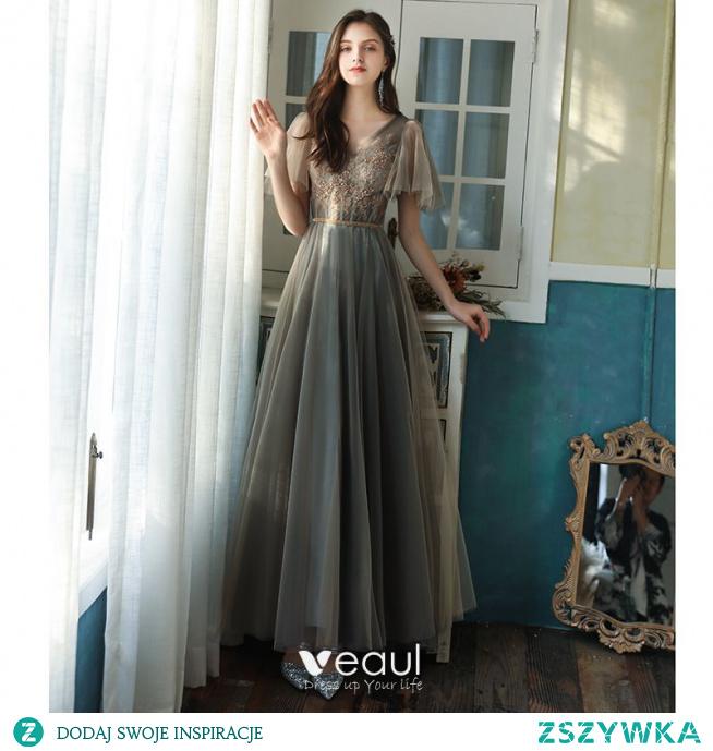Piękne Szary Sukienki Dla Druhen 2021 Princessa Kótkie Rękawy Bez Pleców Frezowanie Perła Z Koronki Kwiat Cekiny Długie Na Wesele Sukienki Na Wesele