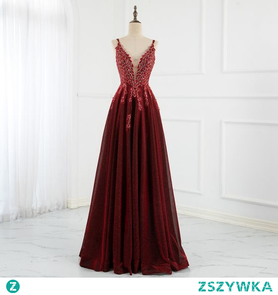 Błyszczące Uroczy Burgund Sukienki Na Bal Sukienki Wieczorowe 2021 Princessa Spaghetti Pasy Frezowanie Cekiny Bez Rękawów Bez Pleców Długie Bal Sukienki Wizytowe