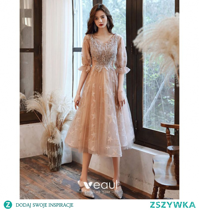 Uroczy Szampan Frezowanie Cekiny Homecoming Sukienki Na Studniówke Sukienki Na Bal 2021 Princessa V-Szyja Gwiazda Z Koronki 1/2 Rękawy Długie Sukienki Wizytowe