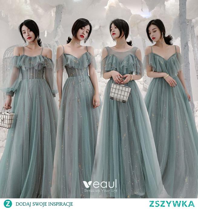 Piękne Zielony Cekiny Sukienki Dla Druhen 2021 Princessa Spaghetti Pasy Kótkie Rękawy Bez Pleców Długie Na Wesele Sukienki Na Wesele