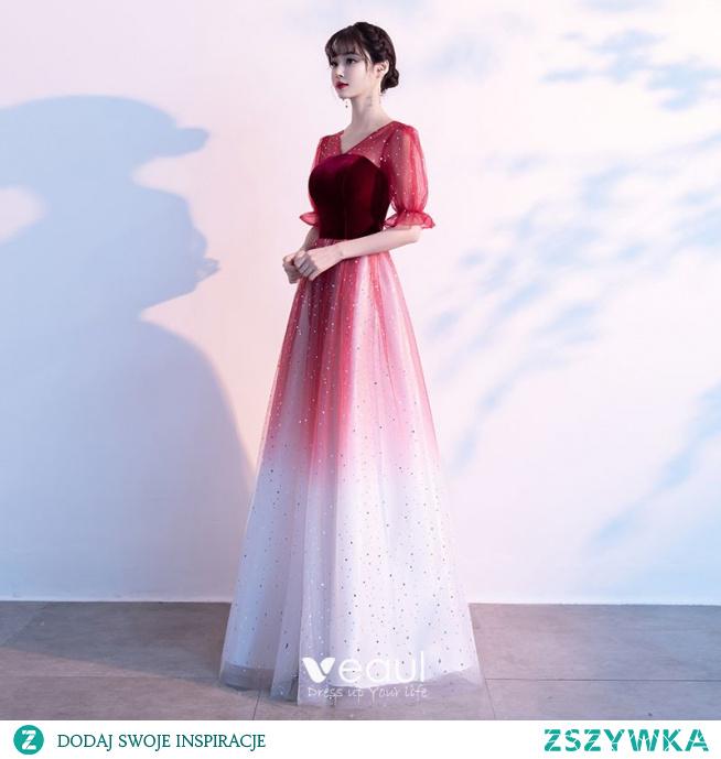 Eleganckie Burgund Zamszowe Sukienki Na Bal 2021 Princessa V-Szyja Gwiazda Cekiny 1/2 Rękawy Bez Pleców Długie Bal Sukienki Wizytowe
