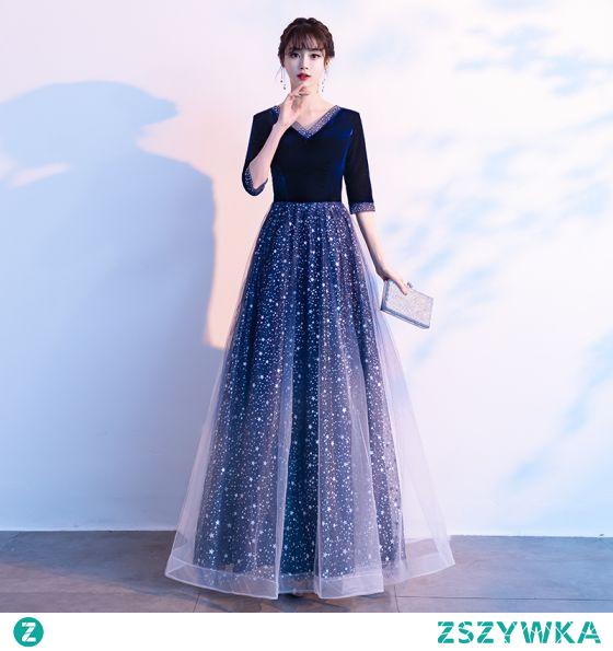 Vintage Ciemnoniebieski Zamszowe Sukienki Na Bal 2021 Princessa V-Szyja Gwiazda Cekiny 1/2 Rękawy Długie Bal Sukienki Wizytowe