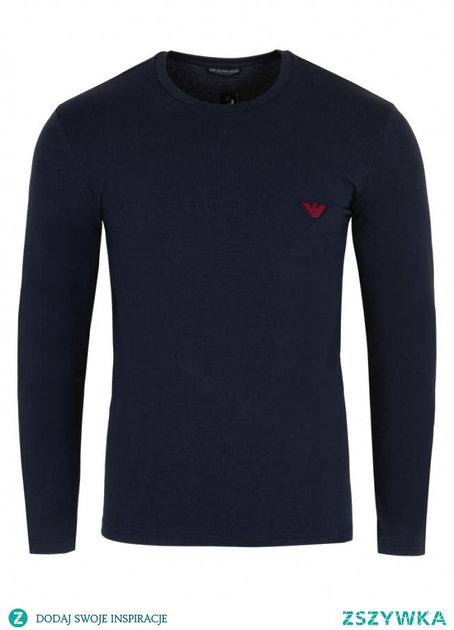 Granatowy t-shirt długi rękaw armani dostępny na stronie Visciola - przypadnie do gustu nie tylko panom, ale i również paniom. Spraw prezent swojej drugiej połówce - kup mu koszulkę do spania.