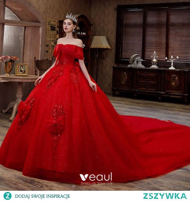 Stylowe / Modne Czerwone Cekiny Z Koronki Kwiat Suknie Ślubne 2021 Suknia Balowa Przy Ramieniu Kokarda Kótkie Rękawy Bez Pleców Trenem Królewski Ślub