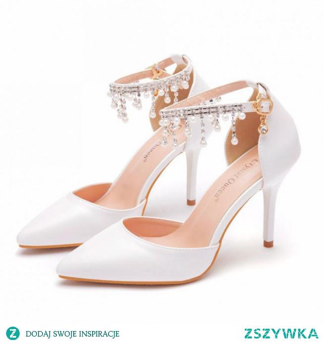 Uroczy Białe Buty Ślubne 2021 Perła Rhinestone Z Paskiem 9 cm Szpilki Szpiczaste Ślub Sandały Wysokie Obcasy
