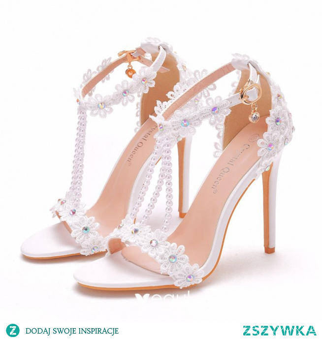 Uroczy Białe Z Koronki Kwiat Buty Ślubne 2021 Rhinestone Perła T-Bar 11 cm Szpilki Peep Toe Ślub Wysokie Obcasy
