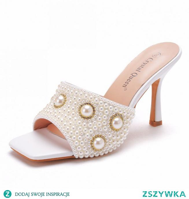 Piękne Białe Zużycie ulicy Perła Rhinestone Sandały Damskie 2021 9 cm Szpilki Peep Toe Sandały Wysokie Obcasy
