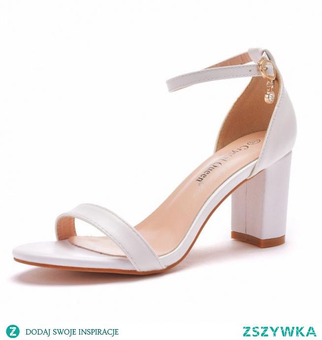 Piękne Białe Buty Ślubne 2021 Z Paskiem 7 cm Grubym Obcasie Szpiczaste Ślub Sandały Wysokie Obcasy