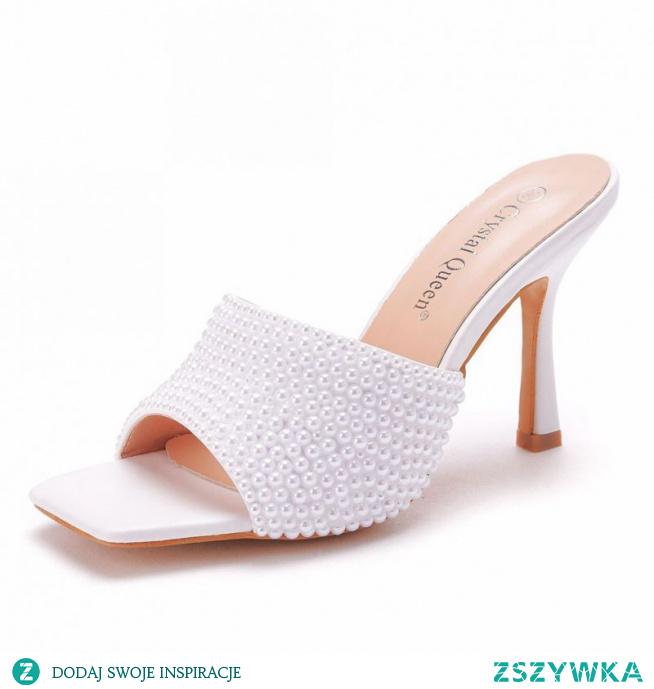 Piękne Białe Koktajlowe Perła Rhinestone Sandały Damskie 2021 9 cm Szpilki Peep Toe Sandały