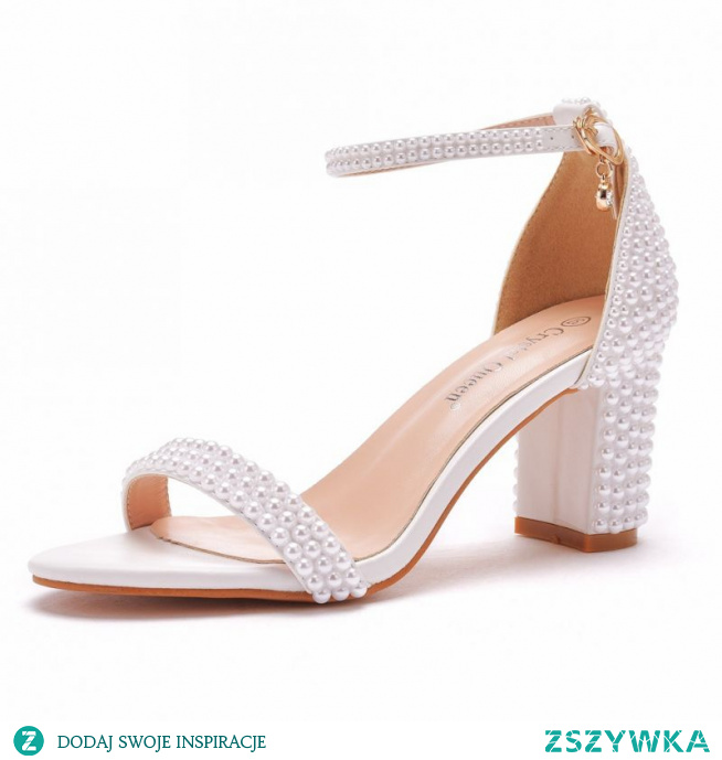 Uroczy Piękne Białe Perła Buty Ślubne 2021 Z Paskiem 7 cm Grubym Obcasie Peep Toe Ślub Sandały Wysokie Obcasy
