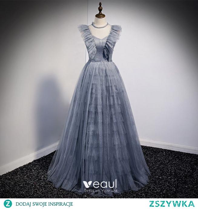 Uroczy Błękitne Szary Sukienki Na Bal 2021 Princessa Wycięciem Wzburzyć Kótkie Rękawy Frezowanie Bez Pleców Kokarda Długie Bal Sukienki Wizytowe