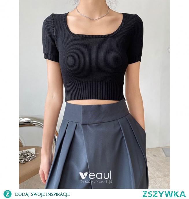 Moda Czarne Lato Zużycie ulicy Dziewiarskie Mocno koszulki 2021 U-Szyja Kótkie Rękawy Topy Damskie Podkoszulek