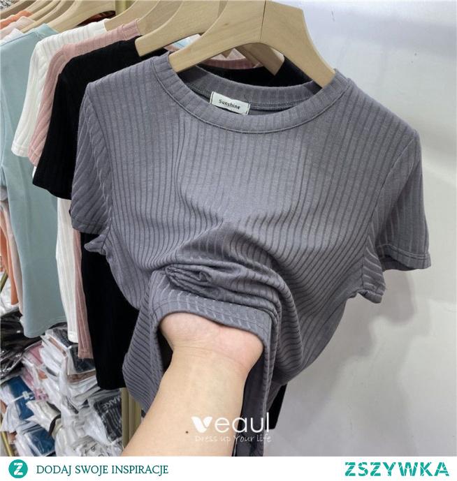 Lato Przypadkowy Szary Naszywka Luźny koszulki 2021 Wycięciem Kótkie Rękawy Topy Damskie Podkoszulek