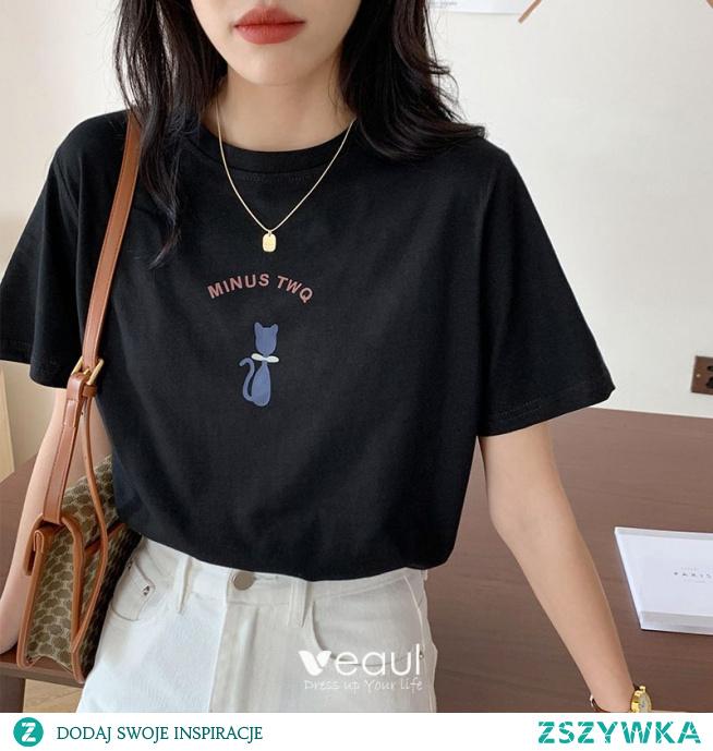 Moda Lato Zużycie ulicy Bawełna Rysunek Druk Czarne koszulki 2021 Luźny Wycięciem Kótkie Rękawy Topy Damskie Podkoszulek