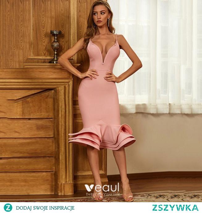 Seksowne Moda Lato Rumieniąc Różowy Kaskadowe Falbany Mocno Sukienki Wieczorowe Sukienki Koktajlowe 2021 Spaghetti Pasy Bez Rękawów Kobiety Koktajlowe Wieczorowe Sukienki Sukienki Wizytowe