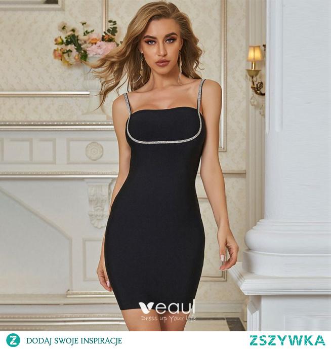 Moda Czarne Odzież na wakacje Mocno Koktajlowe Strona Sukienka 2021 Bez Rękawów Rhinestone Spaghetti Pasy Bez Pleców Kobiety Sukienki
