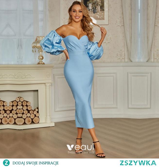Seksowne Błękitne Mocno Strona Sukienka 2021 Przy Ramieniu Bufiasta 1/2 Rękawy Bez Pleców Koktajlowe Wieczorowe Kobiety Sukienki