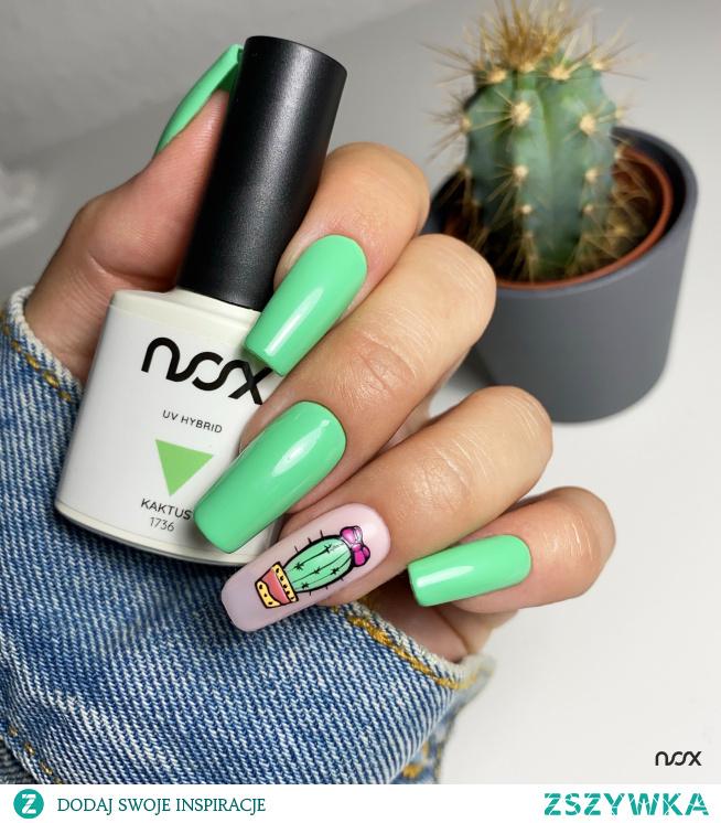 1736 Kaktus to kolorek, który doskonale współgra ze wszelkiego rodzaju wzorkami, zwłaszcza tymi roślinnymi! Jak Wam się podoba nasza dzisiejsza propozycja na zielony manicure?