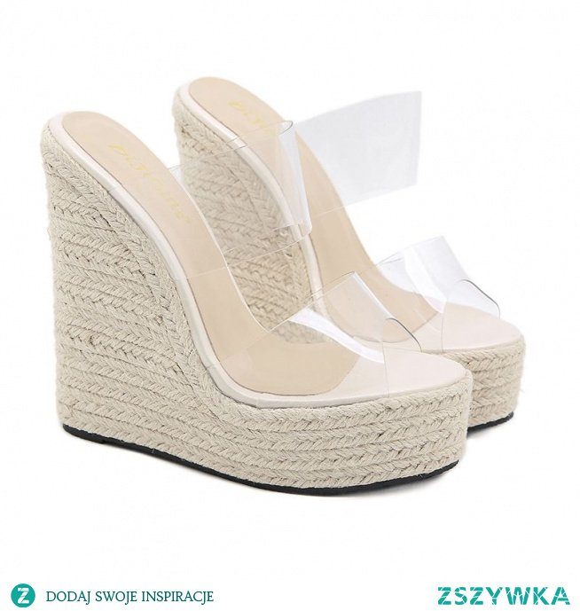 Seksowne Przezroczysty Białe Zużycie ulicy Lato Warkocz Sandały Damskie 2021 16 cm Na Koturnie Peep Toe Sandały Wysokie Obcasy