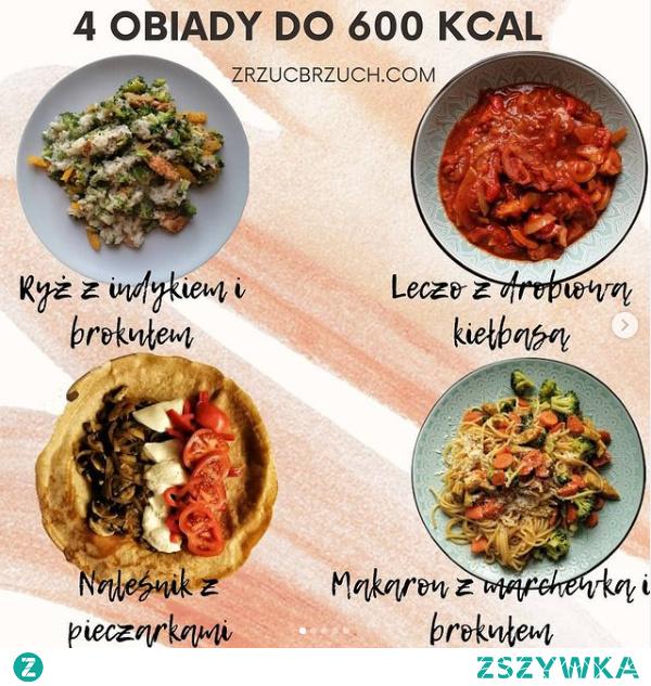 4 obiady do 600 kcal. Darmowe przepisy :)
