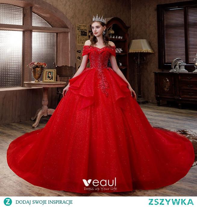 Uroczy Czerwone Cekinami Frezowanie Kaskadowe Falbany Suknie Ślubne 2021 Suknia Balowa Przy Ramieniu Kótkie Rękawy Bez Pleców Trenem Królewski Ślub