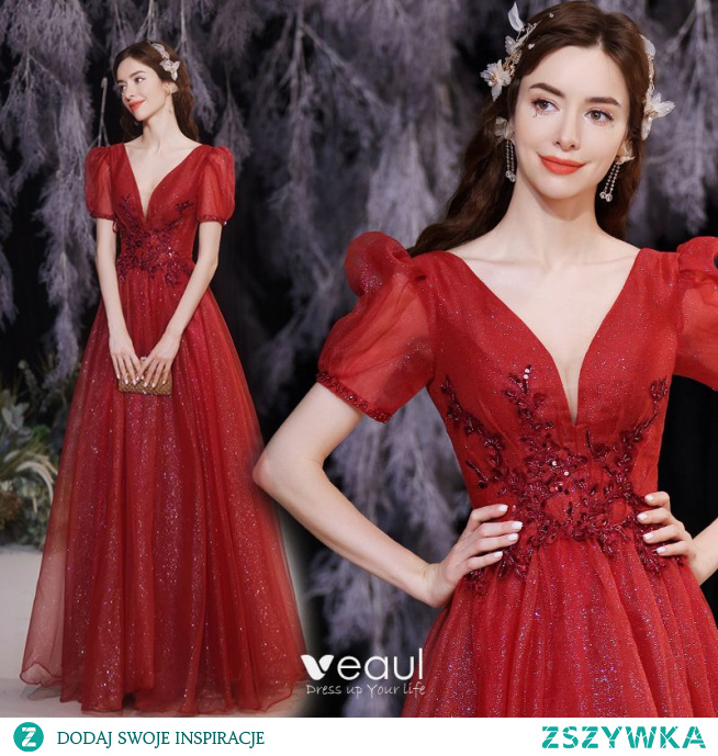 Uroczy Burgund Cekinami Sukienki Wieczorowe 2021 Princessa V-Szyja Frezowanie Cekiny Kótkie Rękawy Bez Pleców Długie Sukienki Wizytowe