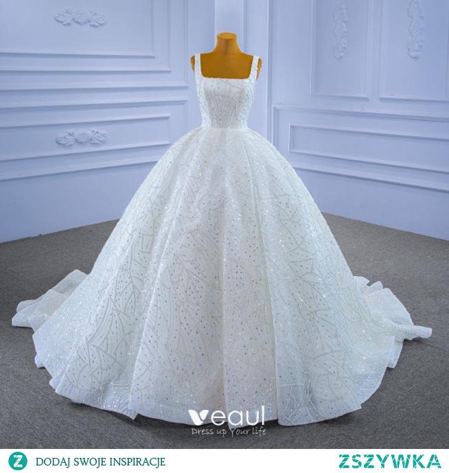Wysokiej Klasy Uroczy Kość Słoniowa Frezowanie Rhinestone Cekiny Suknie Ślubne 2021 Suknia Balowa Kwadratowy Dekolt Długie Rękawy Bez Pleców Trenem Sąd Ślub