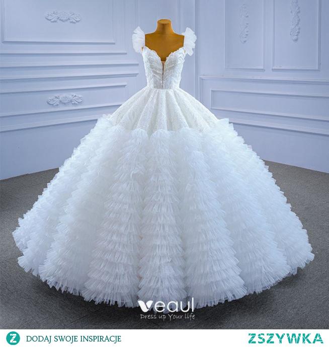 Luksusowe Białe Plisowane Z Koronki Kwiat Suknie Ślubne 2021 Suknia Balowa Kwadratowy Dekolt Frezowanie Cekiny Bez Rękawów Bez Pleców Trenem Kaplica Ślub