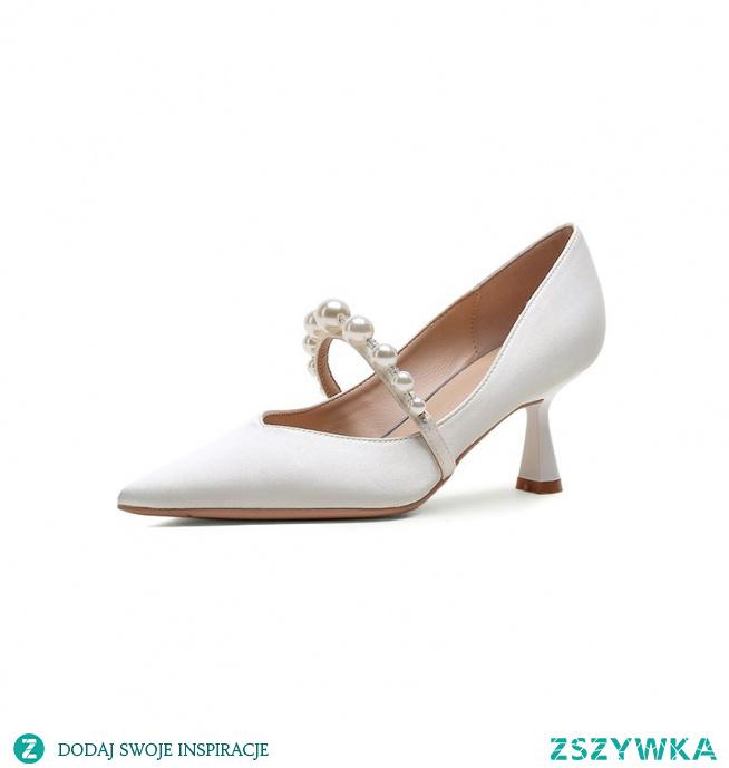 Moda Białe Perła Skórzany Satyna Buty Ślubne 2021 6 cm Szpilki Szpiczaste Ślub Czółenka Wysokie Obcasy