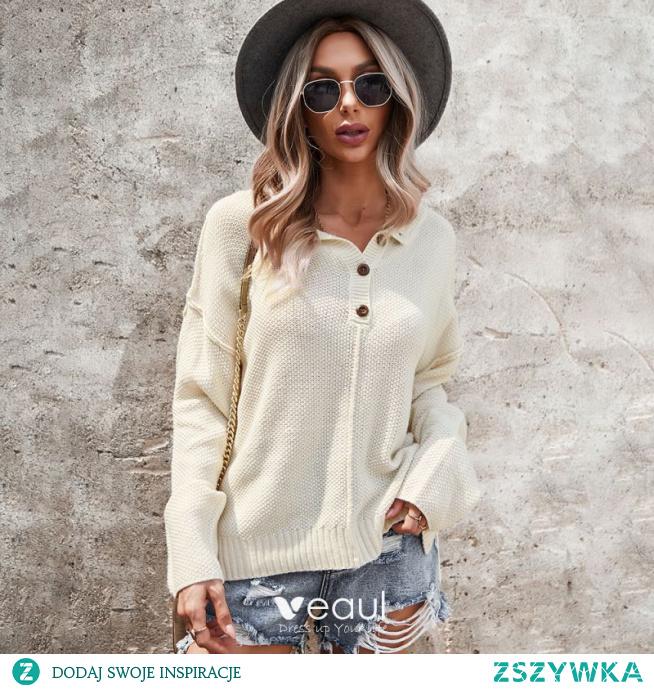 Wygodna Spadek Zima Białe Zużycie ulicy Swetry 2021 Bawełna V-Szyja Długie Rękawy Luźny Topy Damskie