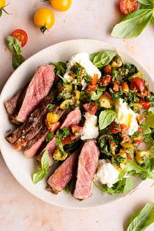 Steak tagliata with tomato ...