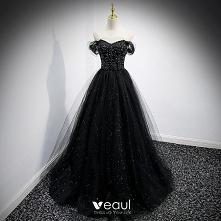 Uroczy Czarne Cekiny Sukien...