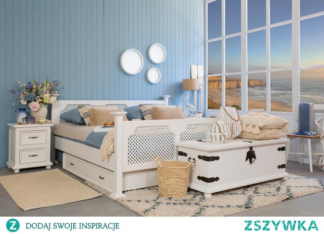 Białe drewniane meble do sypialni. Łóżko drewniane z ażurem. Szuflada pod łóżko. Szafka nocna do sypialni z szufladkami. #łóżko #szuflada #sypialnia #meble #Wnętrze #Stylizacja #Wystrójwnętrz  #Dodatki #Dom #Design #Inspiracja