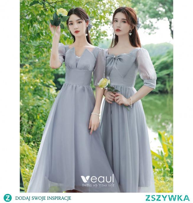 Proste / Simple Błękitne Sukienki Dla Druhen 2021 Princessa V-Szyja Kokarda Kótkie Rękawy Bez Pleców Długość Herbaty Sukienki Na Wesele