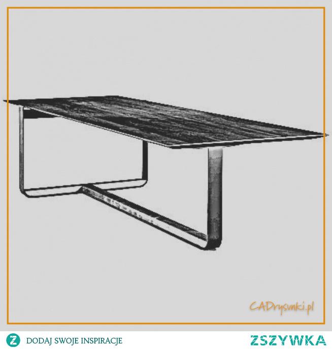 Biurko na trzech połączonych metalowych nogach