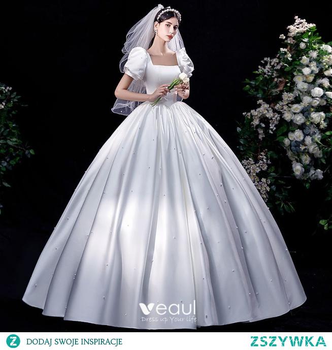 Eleganckie Kość Słoniowa Satyna Suknie Ślubne 2021 Suknia Balowa Kwadratowy Dekolt Perła Bufiasta Kótkie Rękawy Bez Pleców Długie Ślub