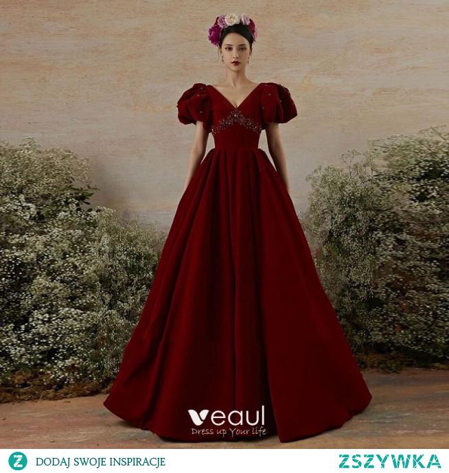 Eleganckie Burgund Sukienki Na Bal Princessa 2021 V-Szyja Rhinestone Bufiasta Kótkie Rękawy Bez Pleców Trenem Sweep Sukienki Wizytowe