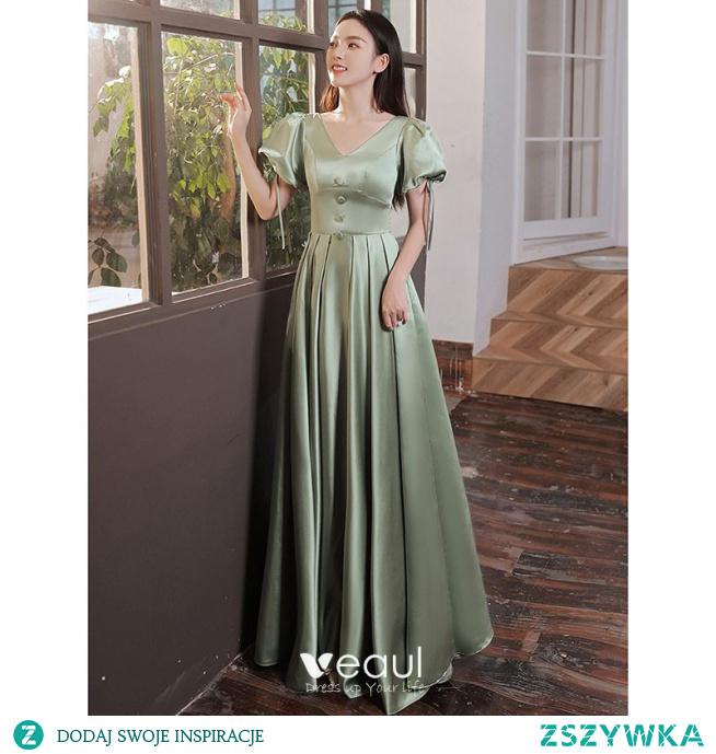 Eleganckie Szałwia Zielony Satyna Sukienki Na Bal 2021 Princessa V-Szyja Bufiasta Kótkie Rękawy Długie Sukienki Wizytowe
