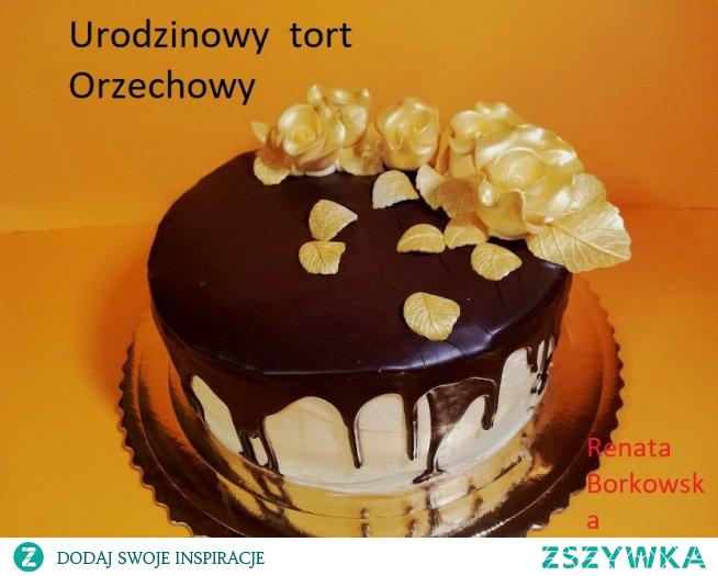 Orzechowy   tort  urodzinowy