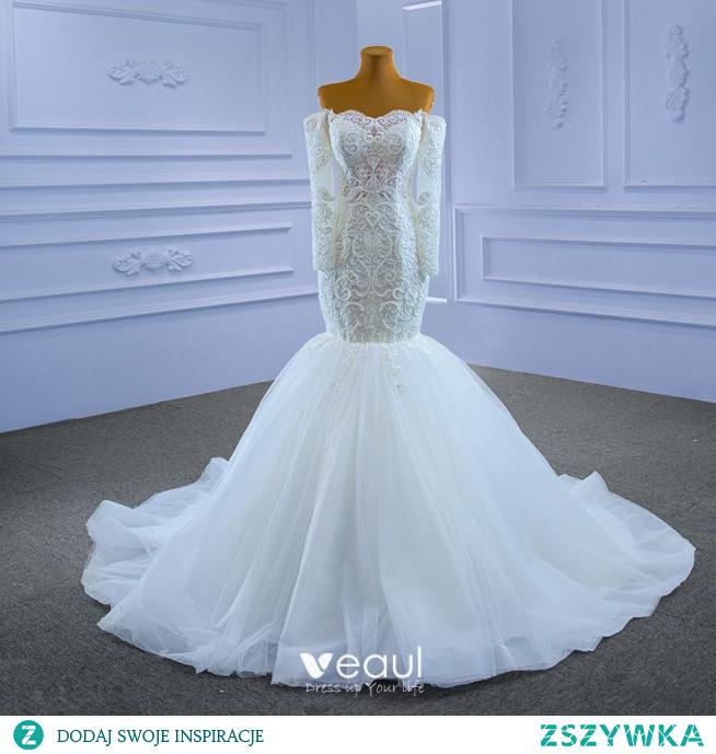 Wysokiej Klasy Białe Suknie Ślubne 2021 Syrena / Rozkloszowane Przy Ramieniu Z Koronki Kwiat Długie Rękawy Bez Pleców Trenem Sąd Ślub