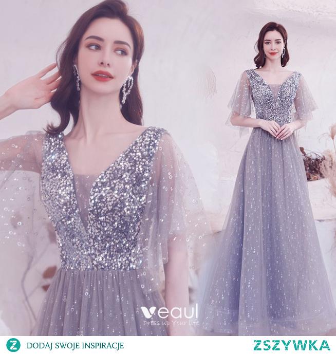 Błyszczące Szary Frezowanie Cekiny Sukienki Na Bal 2021 Princessa V-Szyja 1/2 Rękawy Bez Pleców Długie Sukienki Wizytowe