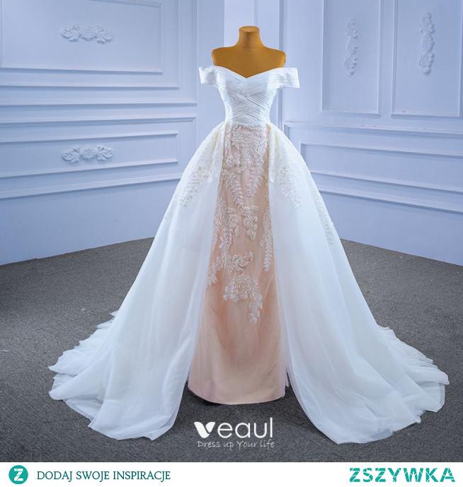 Wysokiej Klasy Białe Z Koronki Kwiat Suknie Ślubne 2021 Syrena / Rozkloszowane Przy Ramieniu Kótkie Rękawy Bez Pleców Trenem Sąd Ślub