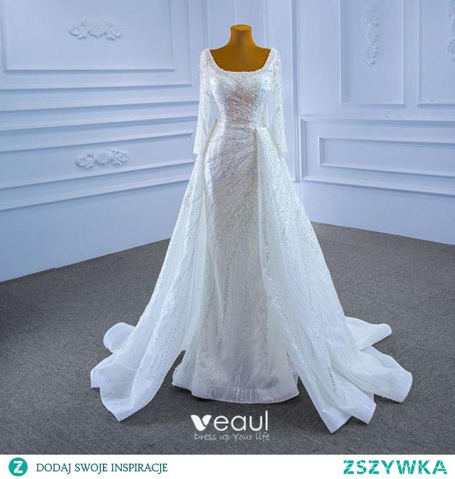 Scintillantes Haut de Gamme Blanche Perlage Perle Paillettes Robe De Mariée 2021 Trompette / Sirène U-Cou Manches Longues Dos Nu Longue Mariage