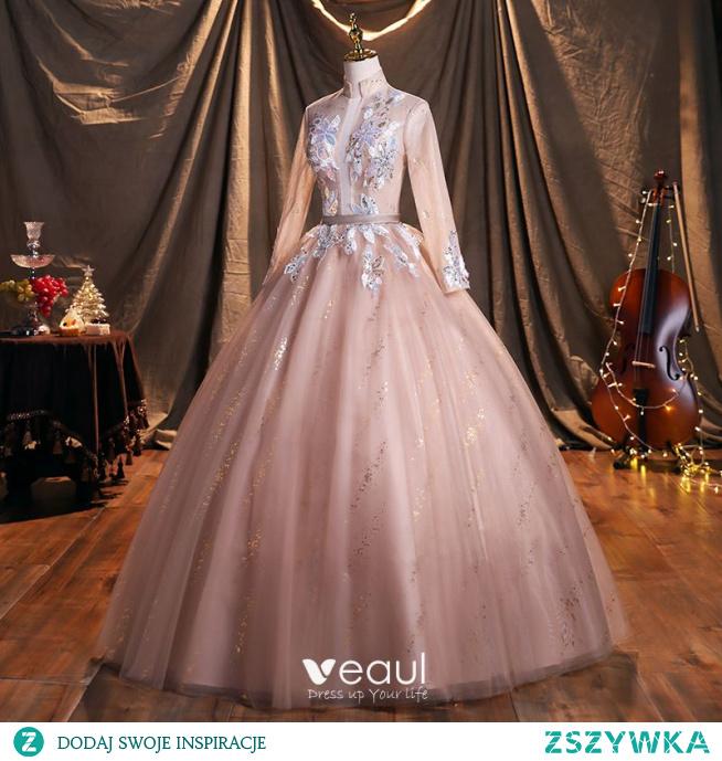 Piękne Rumieniąc Różowy Cekiny Sukienki Na Bal 2021 Suknia Balowa Wysokiej Szyi Długie Rękawy Bez Pleców Szarfa Długie Sukienki Wizytowe