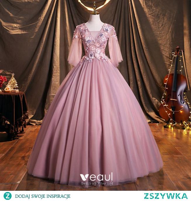 Eleganckie Rumieniąc Różowy Aplikacje Frezowanie Z Koronki Kwiat Sukienki Na Bal 2021 Kwadratowy Dekolt 3/4 Rękawy Bez Pleców Długie Sukienki Wizytowe
