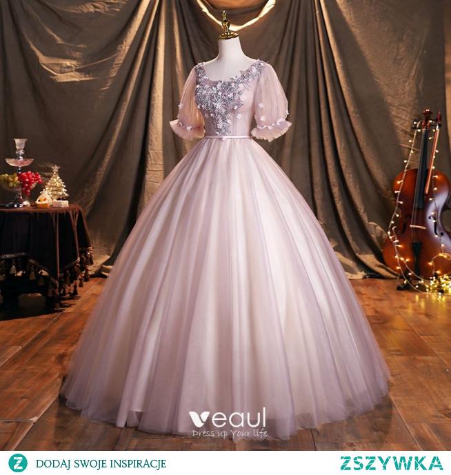 Eleganckie Ciemny Róż Frezowanie Z Koronki Kwiat Aplikacje Sukienki Na Bal 2021 Suknia Balowa Kwadratowy Dekolt 1/2 Rękawy Szarfa Bez Pleców Długie Sukienki Wizytowe