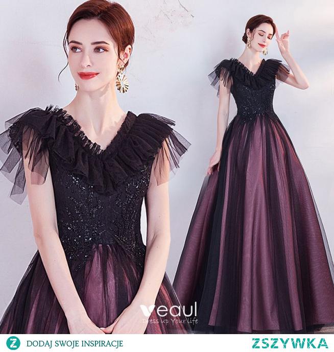 Vintage Fioletowe Frezowanie Cekiny Z Koronki Kwiat Sukienki Na Bal 2021 Princessa V-Szyja Kótkie Rękawy Bez Pleców Długie Sukienki Wizytowe