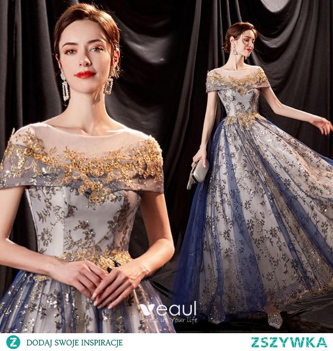 Uroczy Bling Bling Ciemnoniebieski Sukienki Na Bal 2021 Princessa Wycięciem Frezowanie Cekiny Z Koronki Kwiat Kótkie Rękawy Bez Pleców Długie Sukienki Wizytowe