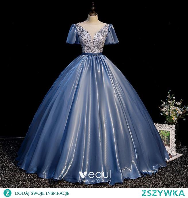 Moda Ciemnoniebieski Cekiny Sukienki Na Bal 2021 Suknia Balowa Wycięciem Kótkie Rękawy Bez Pleców Długie Sukienki Wizytowe